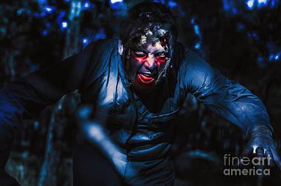 Evil Zombie Man Creeping Though Black Shadows Art Print