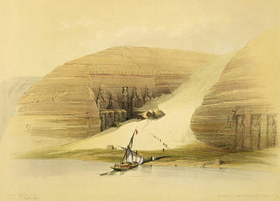 Lake Drawing - Excavated Temple Of Abu Simbel by David Roberts
