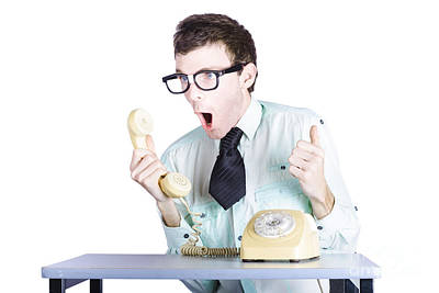 Customer Service Photograph - Excited Businessman With Phone by Jorgo Photography - Wall Art Gallery