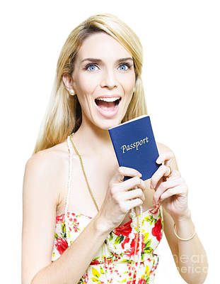 Excited Woman Clutching A Passport Art Print by Jorgo Photography - Wall Art Gallery