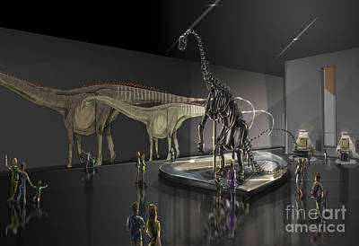 Tourist Attraction Digital Art - Exhibition Space Featuring Diplodocus by Alice Turner