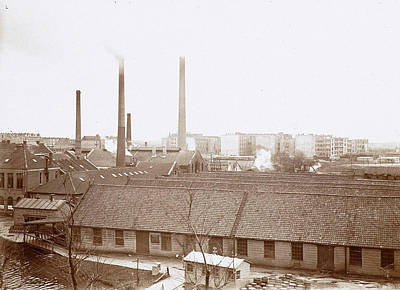 Exterior Of Factory Buildings With Chimneys Art Print