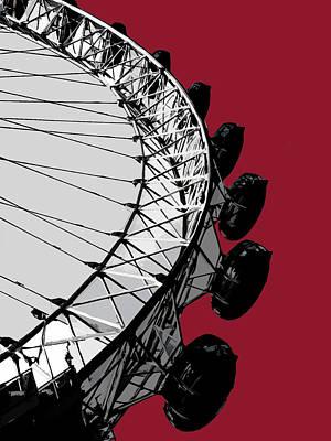 London Mixed Media - Eye - Blazing Red by Big Fat Arts