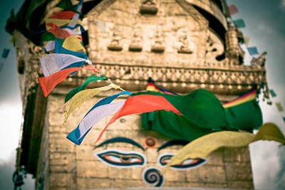 Eye Boudhanath Stupa In Nepal Art Print by Raimond Klavins