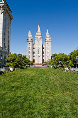 Mormon Temple Photograph - Facade Of A Church, Mormon Temple by Panoramic Images