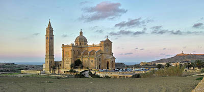 Blessed Virgin Photograph - Facade Of A Church On A Hill, Basilica by Panoramic Images