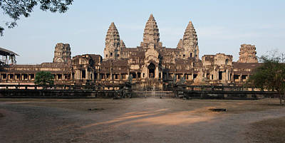 Archaeology Photograph - Facade Of A Temple, Angkor Wat, Angkor by Panoramic Images