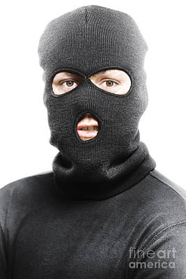 Burglar Photograph - Face Of A Burglar Wearing A Ski Mask Or Balaclava by Jorgo Photography - Wall Art Gallery