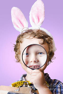 Face Of A Cute Kid On A Easter Hunt For Chocolate Art Print