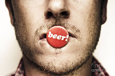 Beer Royalty-Free and Rights-Managed Images - Face Of A Man With Beer Badge by Jorgo Photography - Wall Art Gallery