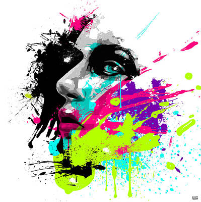 Abstract Ink Paintings In Color - Face Paint 2 by Jeremy Scott
