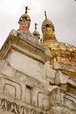 Photograph - Fading Stupa Gilding Of Small Monastery Near West Pwazaw Village Bagan Burma by Ralph A  Ledergerber-Photography