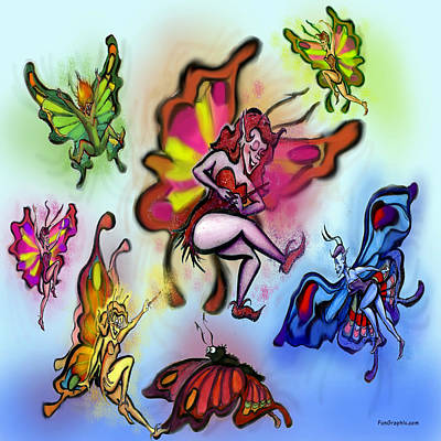 Fairies Digital Art - Faeries by Kevin Middleton