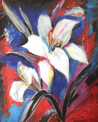 Painting - Fair Pure Fragile White Lilies by Esther Newman-Cohen