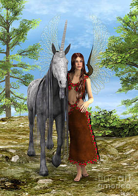 Digital Art - Fairy And Unicorn by Design Windmill
