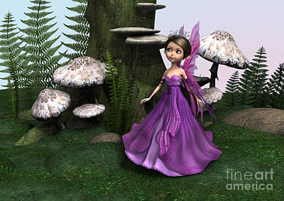 Fairy In Woodland Art Print by Design Windmill