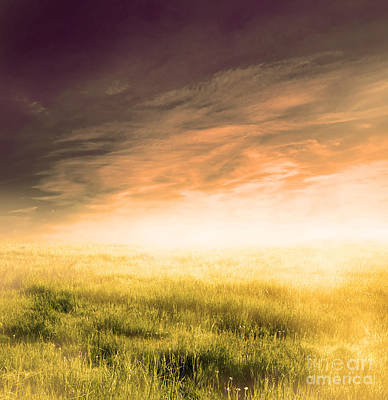 Outdoor Photograph - Fairy Magical Landscape With Sunrise Fog by Michal Bednarek
