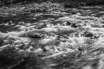 Photograph - Fall Colors Stream Great Smoky Mountains Painted Bw by Rich Franco