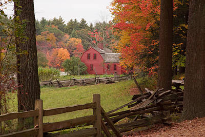 Fall Foliage Over A Red Wooden Home At Sturbridge Village Art Print by Jeff Folger