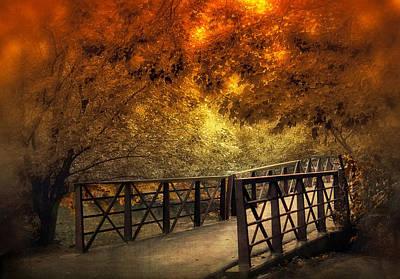 Rural Digital Art - Fall Footbridge by Jessica Jenney
