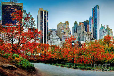 Landmarks Royalty-Free and Rights-Managed Images - Fall In Central Park by Az Jackson