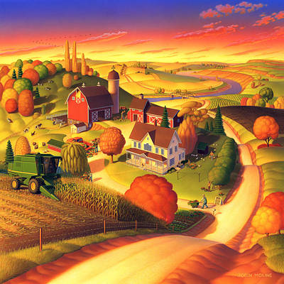 Folk Realism Painting - Fall On The Farm  by Robin Moline