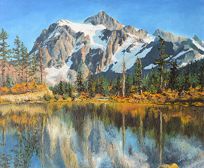 Realism Painting - Fall Reflections - Cascade Mountains by Mary Ellen Anderson