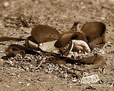 Equestrian Apparel Photograph - Fallen Saddle - Sepia by TN Fairey