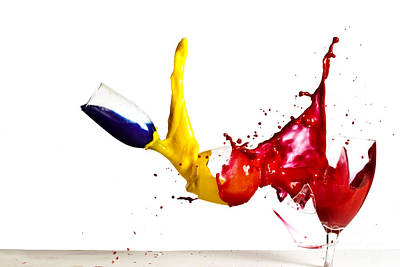 Highspeed Photograph - Falling Glasses Of Paint by Guy Viner