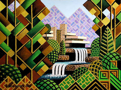 Frank Lloyd Wright Wall Art - Painting - Falling Waters by Bruce Bodden