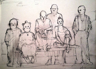 Little People Drawing - Family by H James Hoff