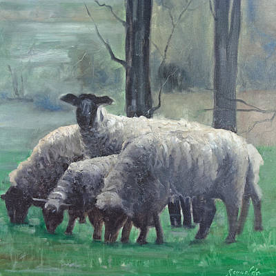 Art Print featuring the painting Family Of Sheep by John Reynolds