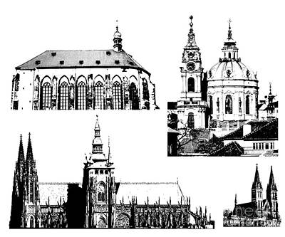 Tourist Attraction Digital Art - famous landmarks of Prague by Michal Boubin