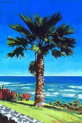 Diamond Head Painting - Fan Palm - Diamond Head by Douglas Simonson