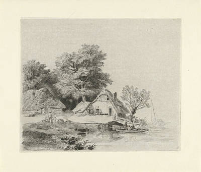 Row Boat Drawing - Farm Waterfront, Remigius Adrianus Haanen by Remigius Adrianus Haanen