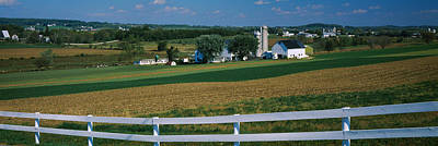 Farmhouse In A Field, Amish Farms Art Print by Panoramic Images