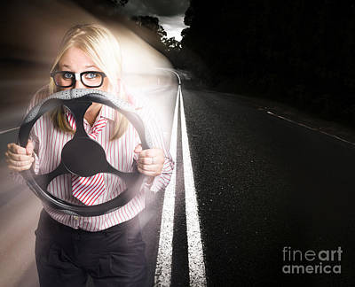 Fast Business Woman Driving Car With Light Trails Art Print
