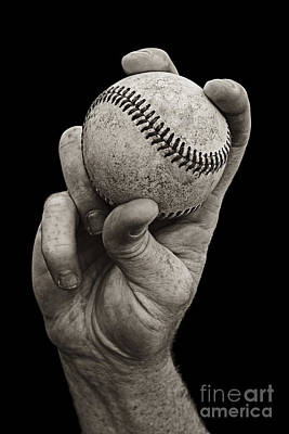 Sepia Photograph - Fastball by Diane Diederich