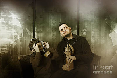 Prophetic Art Wall Art - Photograph - Father And Son In Gasmask. Nuclear Terror Attack by Jorgo Photography - Wall Art Gallery