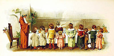 Father Christmas And Children 1894 Art Print by British Library