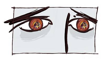Fearful Eyes, Artwork Art Print by Paul Brown