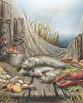 Seafood Mixed Media - Feast by Beverly Levi-Parker