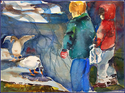 Feeding The Ducks Original by Mindy Newman