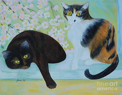 Art Print featuring the painting Feline Friends. Inspirations Collection. by Oksana Semenchenko