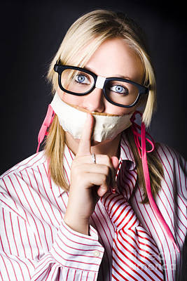 Female Business Nerd With Quiet Gesture Print by Jorgo Photography - Wall Art Gallery