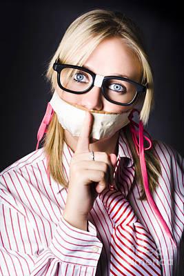Dark Eyes Photograph - Female Business Nerd With Quiet Gesture by Jorgo Photography - Wall Art Gallery