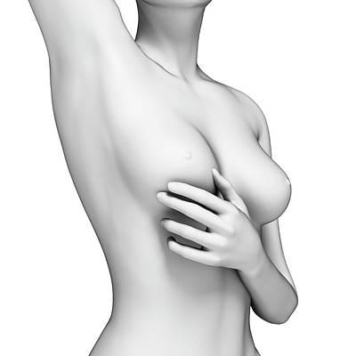 Female Examining Her Breast Art Print by Sebastian Kaulitzki