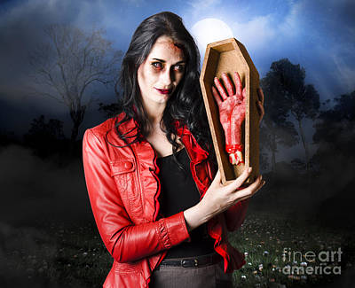 Casket Photograph - Female Grave Robber Stealing Limbs And Body Parts by Jorgo Photography - Wall Art Gallery