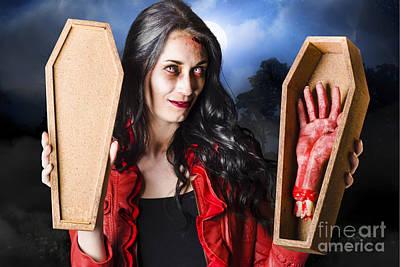 Female Halloween Zombie Holding Undead Hand Art Print