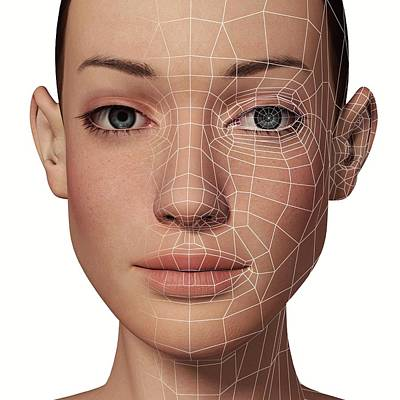 Female Head With Biometric Facial Map Art Print